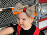 firefighter, baby, girl, bow, hair piece, toddler, thin red line, fashionable, handmade, small shop, organic, fire