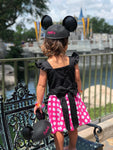 disney, minnie, polka dot, dress, bow, handmade, small shop, trendy, birthday, photo, fashion
