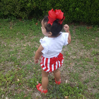 Red and White Striped Bow Bloomers