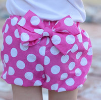 polka dots, summer, spring, bloomers, bow, classic, classy, pink, handmade, shop small