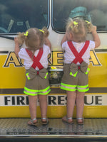 fireman, firefighter, suspender shorts, bow, handmade, community helpers, costume, dress up