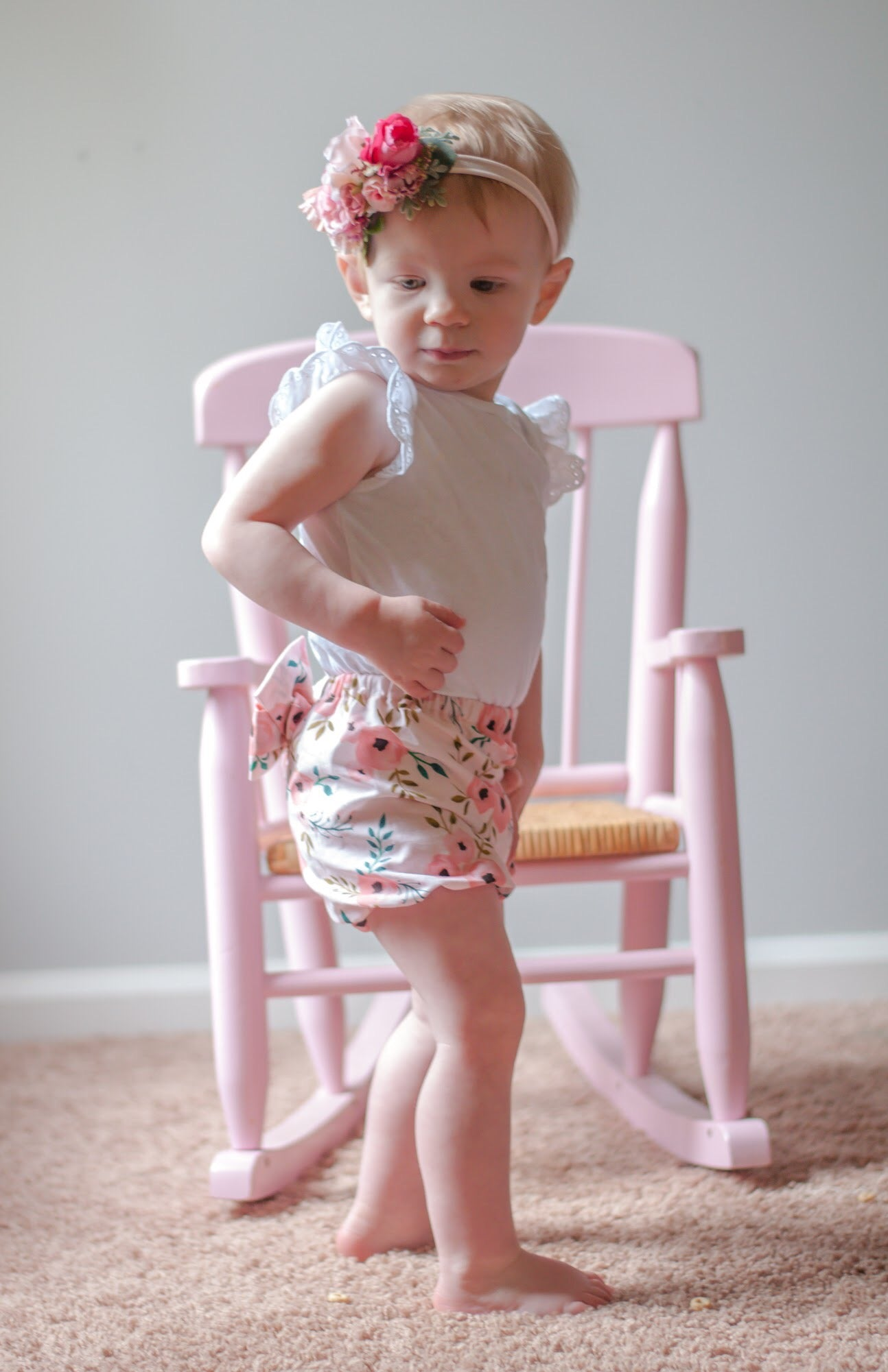 Pink Floral Bow Bloomers