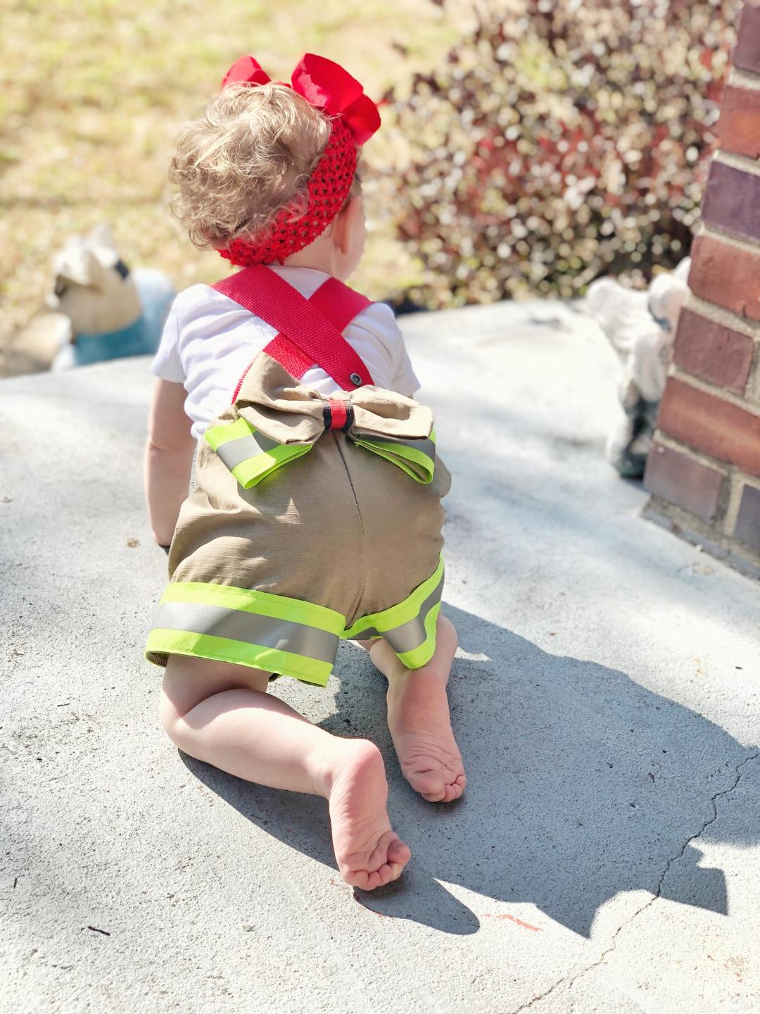 fireman, fire girl, suspender shorts, community helper, hero, halloween, handmade, small shop, quality, trendy, costume, fashion, bow