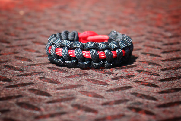 firefighter, bracelet, handmade, small shop, fireman, trendy, fashion, stocking stuffer, thin red line