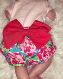 bloomers, bow, floral, pink, girls, bummies, handmade, small shop, spring, summer, trendy