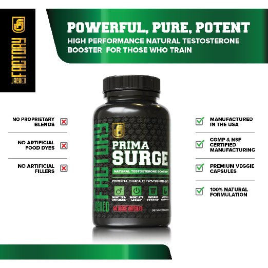 PRIMASURGE Natural Testosterone Booster for Men - Boost Lean Muscle Growth, Strength, Libido, Energy, & Fat Loss - Premium Cutting-Edge Ingredients - 60 Veggie Caps - 100% Money-Back Guarantee