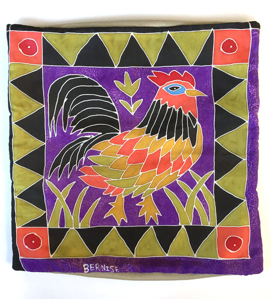 Silk Pillow Cover: Proud Rooster