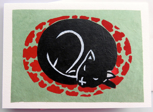 Handmade Card: Sleeping Black Cat
