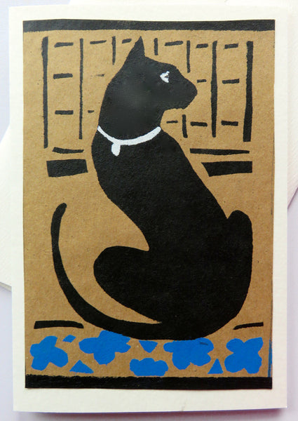 Handmade Cards: Black Cat Watching
