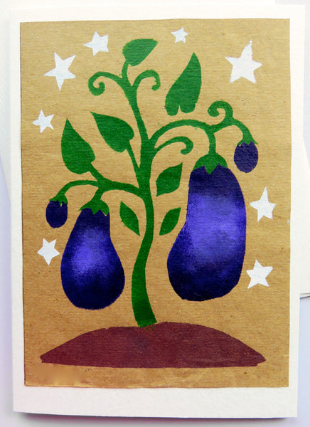 Handmade Card: Eggplants