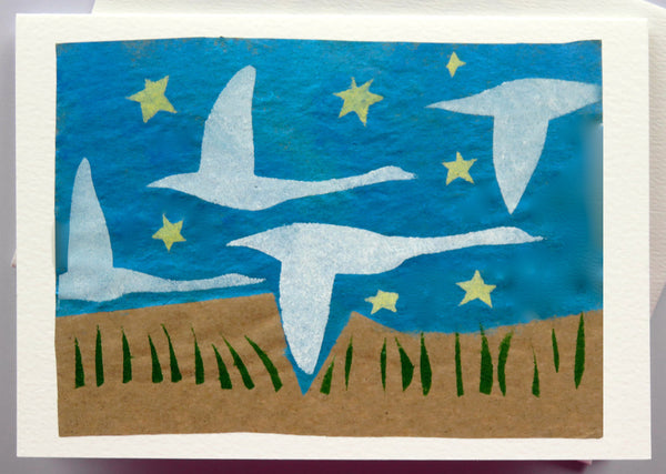 Handmade Card: Swan in Flight
