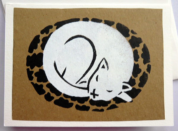 Handmade Card: White Cat Sleeping