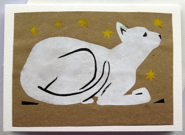 Handmade Card: White Cat Waiting