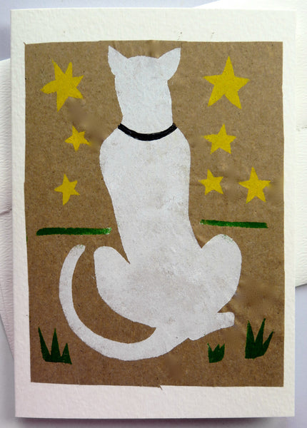 Handmade Card: White Cat Watching