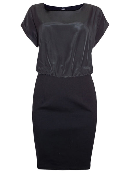 Black Turn-Up Sleeve Shift Dress