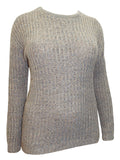 Taupe Round Neck Cable Knit Jumper