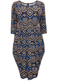 Navy Coveted Drape Side Tribal Print Jersey Dress