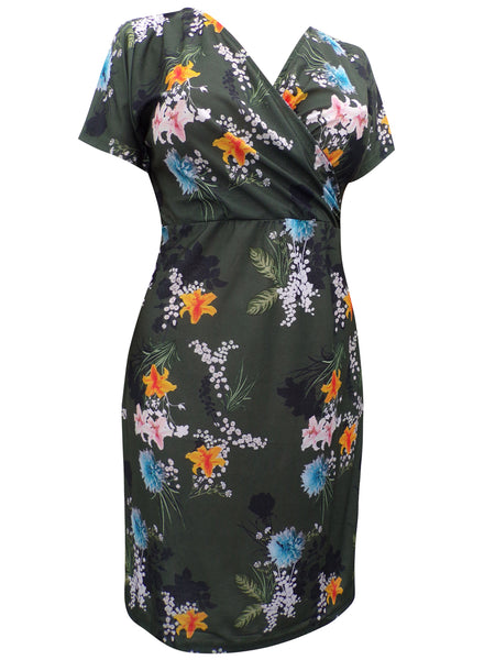 Green Mock Wrap Hibiscus Print Dress with Modal
