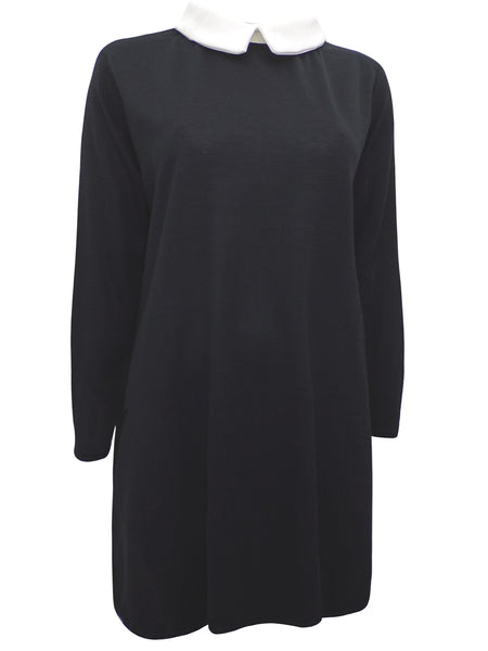 Black Contrast Collar Long Sleeve Dress