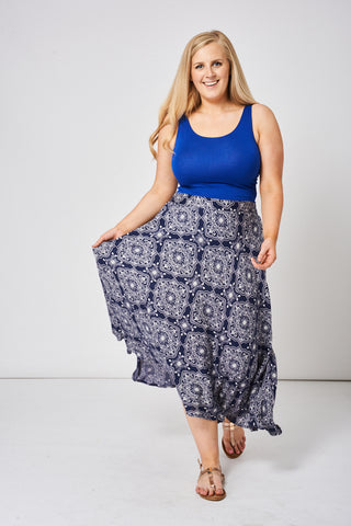 Navy Summer Skirt With Abstract Print Ex-Branded