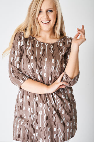 PLUS SIZE Textured Brown Top