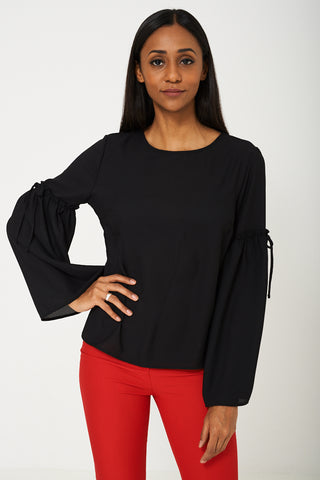 Volume Sleeve Blouse in Black Ex Brand