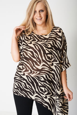 PLUS Animal Print Top with Moon Hemline