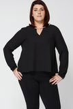 Black Chiffon A-line Blouse Ex-Branded