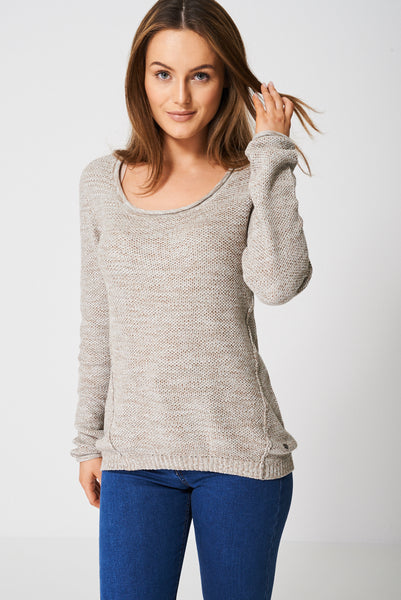 Cotton Jumper In Beige