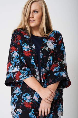 PLUS SIZE Sheer Cardigan in Flower Print