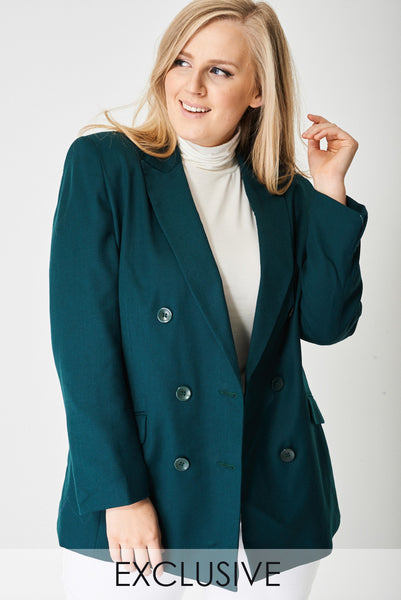 Plus-Size Exclusive Pure Wool Smart Blazer in Bottle Green