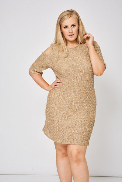 Beige Cold Shoulder Textured Dress