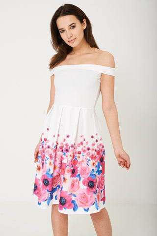 Floral Skater Dress with Bardot Neckline