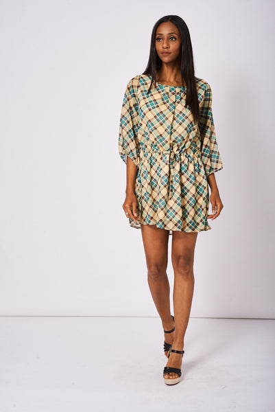 Pleated Front Belted Dress In Check