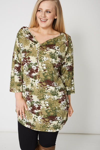 Camouflage Style Flower Print Top
