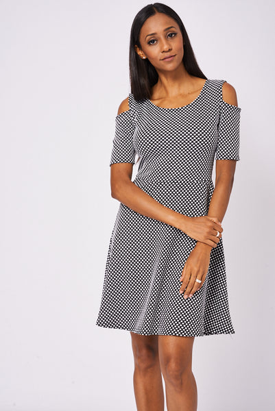 Polka Dot Cold Shoulder Skater Dress