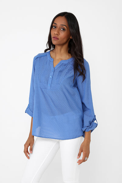 Blue Top with Pleating Detail