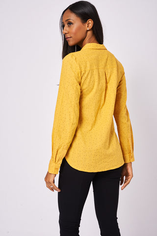 Soft Mustard Polka-dot Shirt