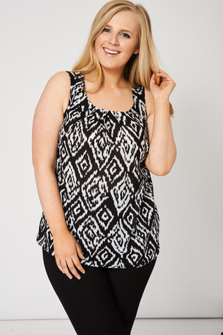 Pleat Front Sleeveless Top With Abstract Print