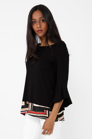 Insert Printed Hem Top in Black