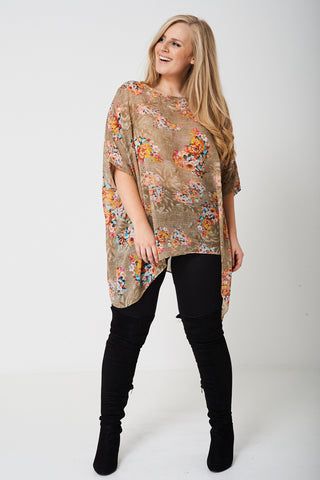PLUS Flower Print Top with Moon Hemline