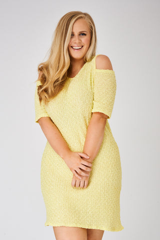 Yellow Cold Shoulder Textured Dress