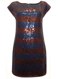 Stripe Sequinned Dress Navy and Copper