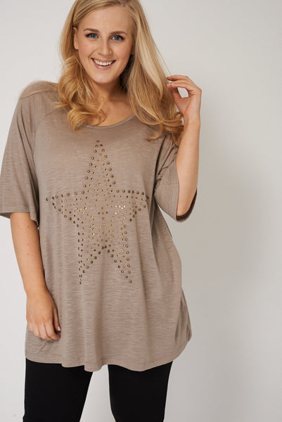 PLUS SIZE Embellished Star Top in Mocha