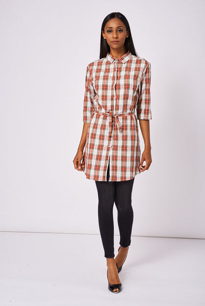Red Tiewaist Check Shirt Dress