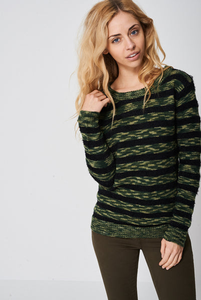 Army Stripe Mohair And Knit Jumper Ex-Branded