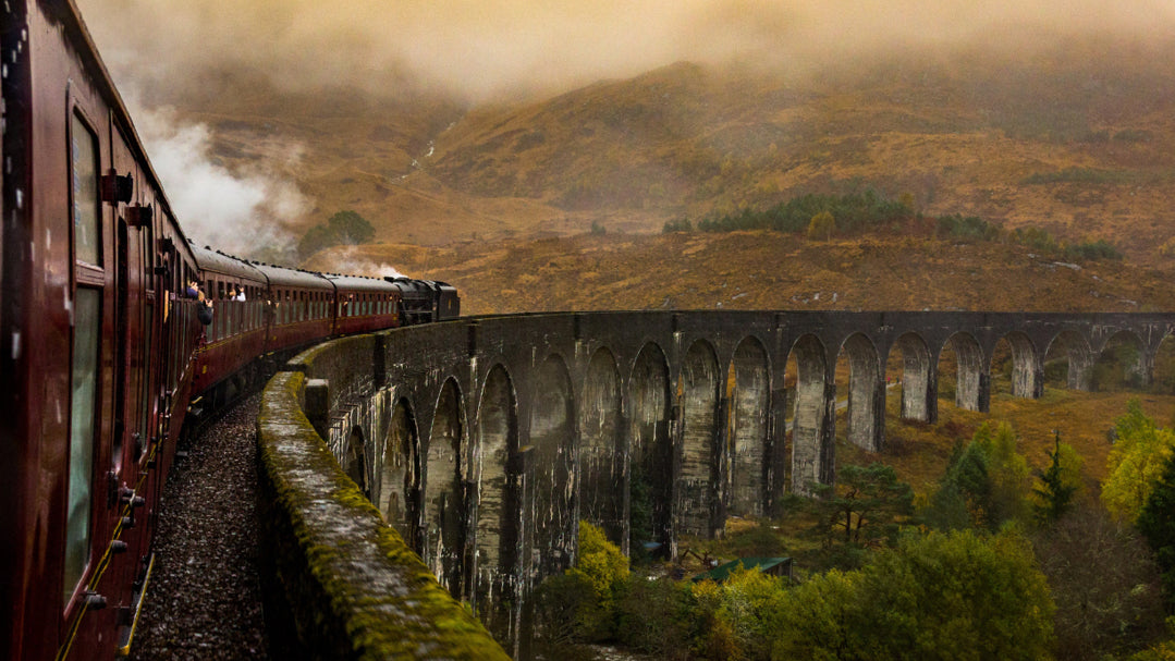 Steam train going over viaduct