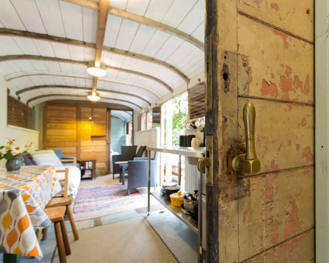 Converted train glamping