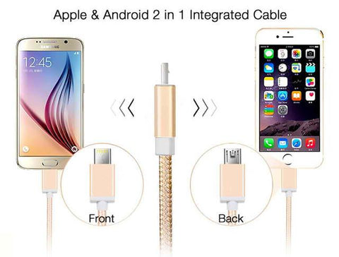 Apple & Android 2 in 1 Integrated Cable