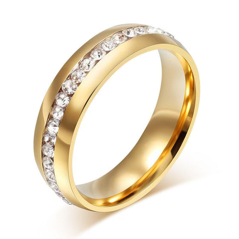 6mm 18k Gold Plated Wedding Crystal Ring